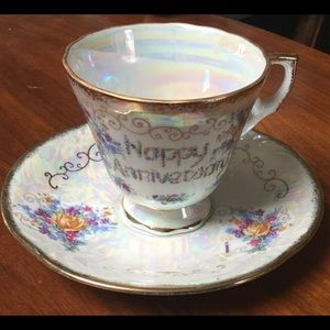 """Vintage """" Happy anniversary"""" tea cup and saucer"""